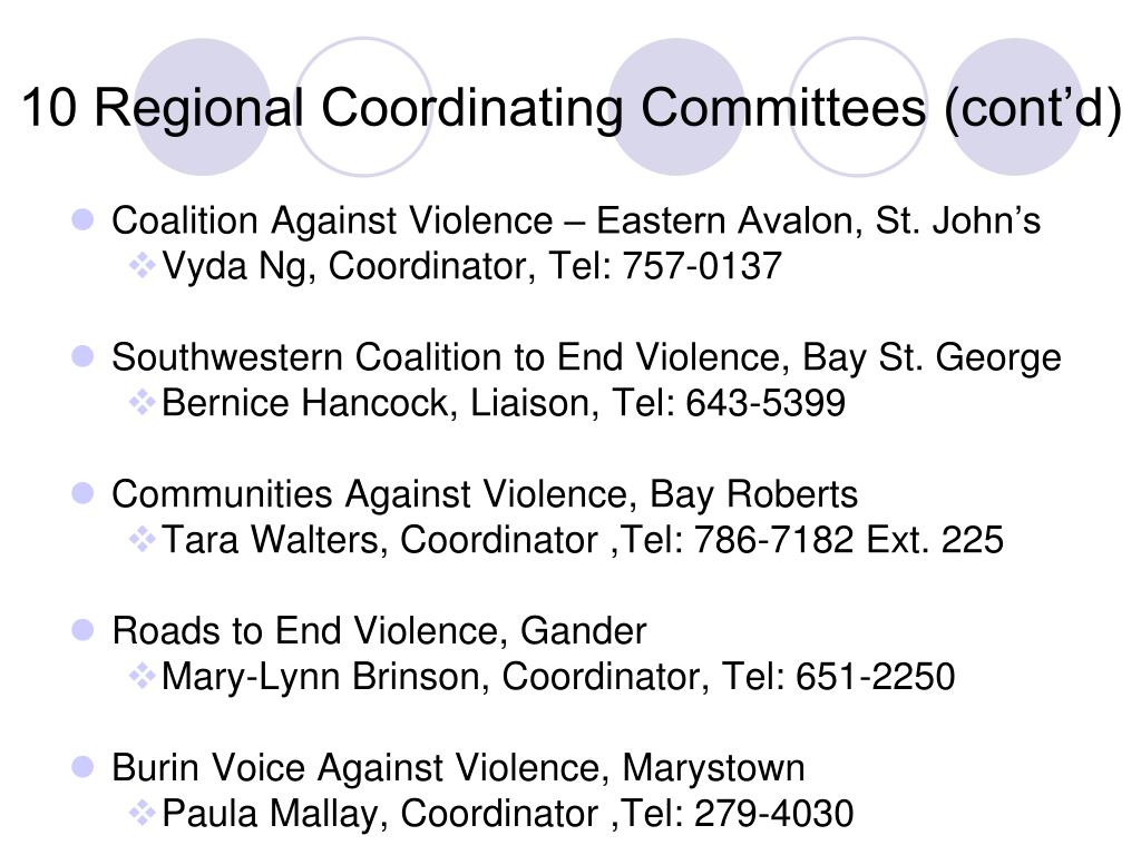 10 Regional Coordinating Committees (cont'd)