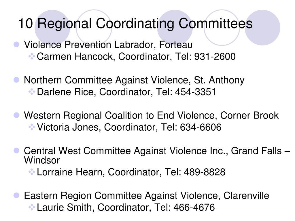 10 Regional Coordinating Committees