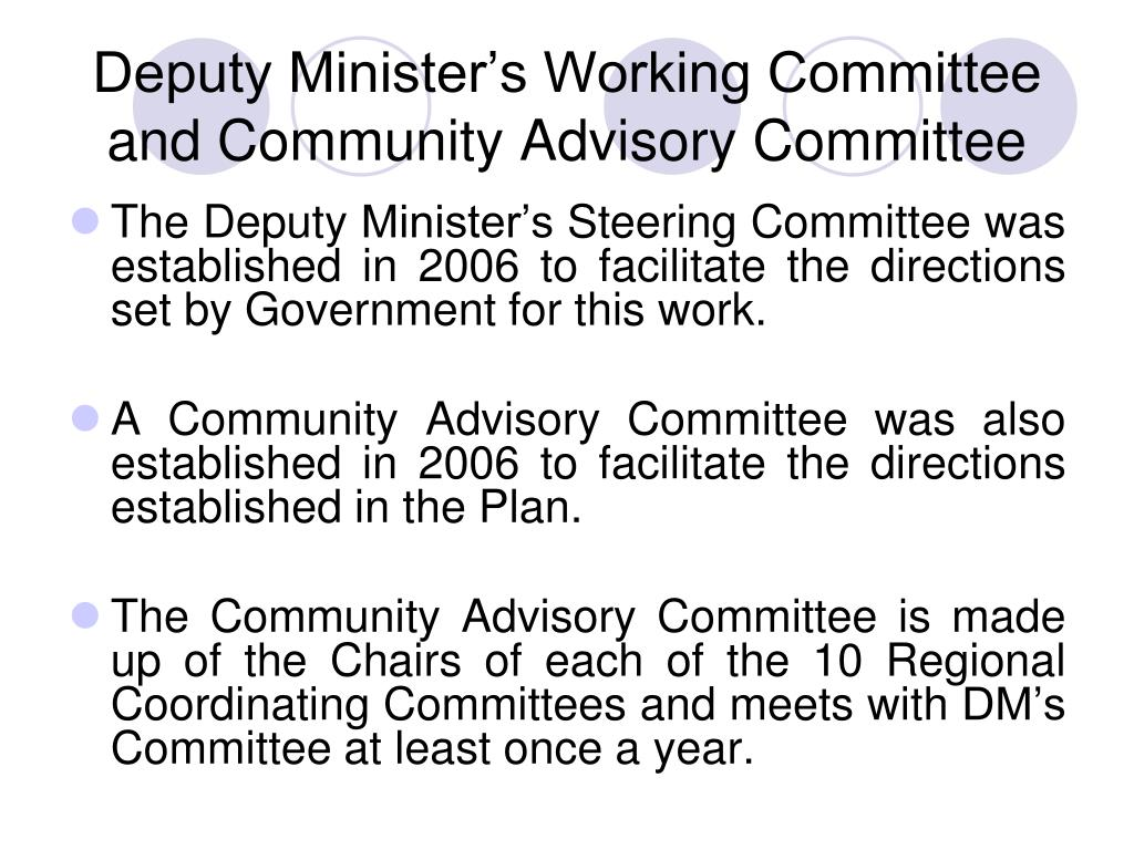 Deputy Minister's Working Committee and Community Advisory Committee