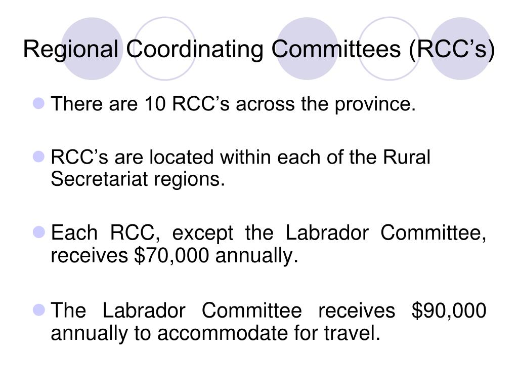 Regional Coordinating Committees (RCC's)