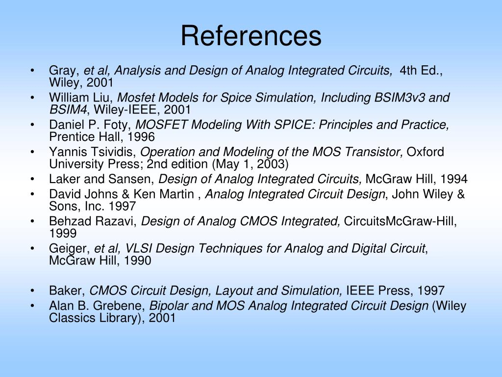 PPT EE 501 Analog IC Design PowerPoint Presentation
