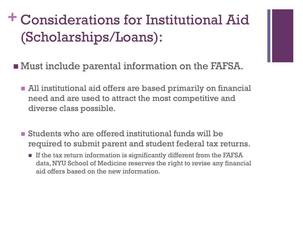 Considerations for Institutional Aid (Scholarships/Loans):