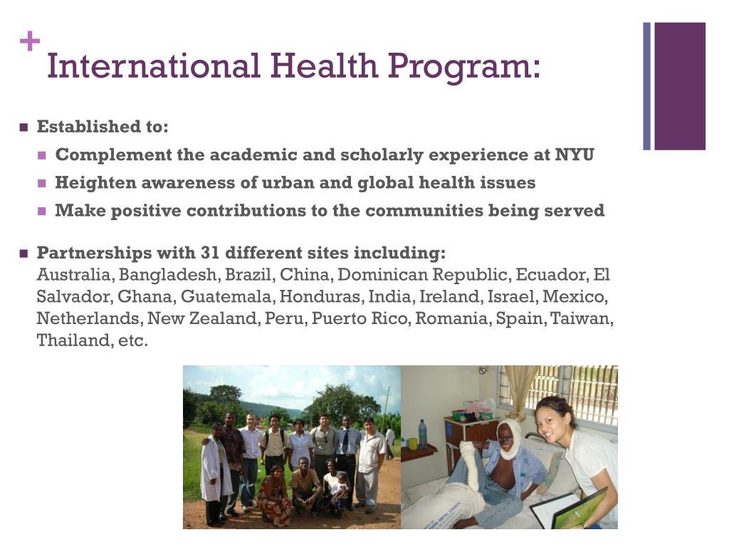 International Health Program: