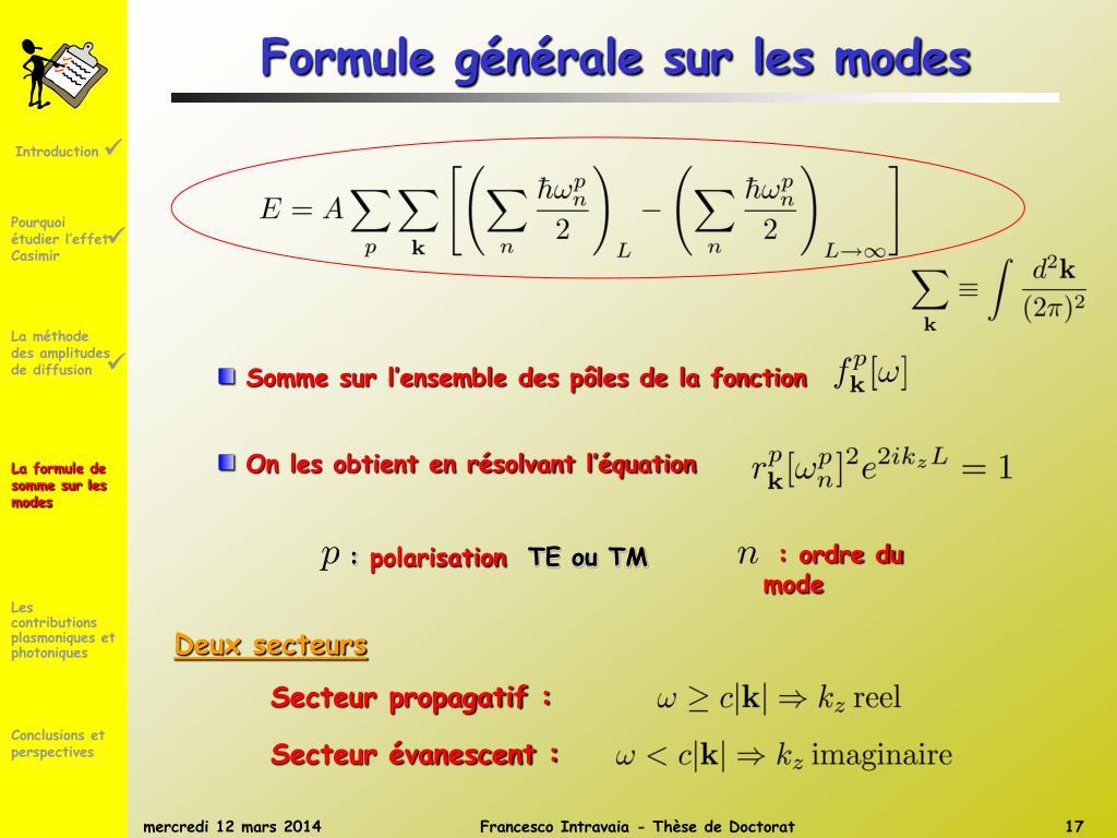 Formule générale sur les modes