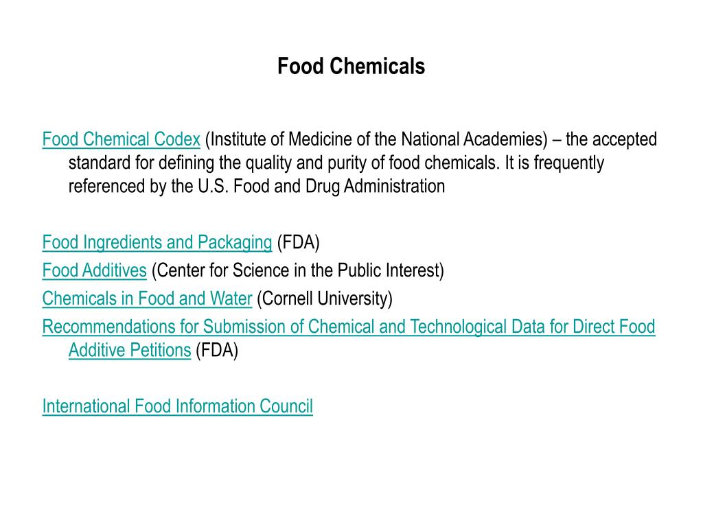 PPT - Chemicals in Food PowerPoint Presentation - ID:42614