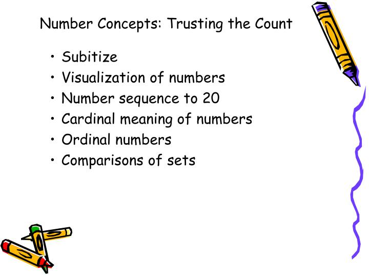 Number concepts trusting the count