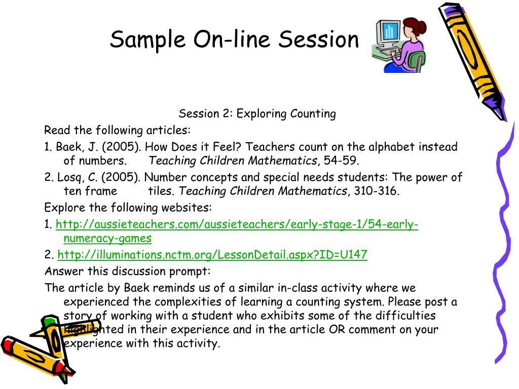 Sample On-line Session