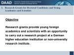 research grants for doctoral candidates and young academics and scientists