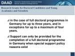 research grants for doctoral candidates and young academics and scientists8