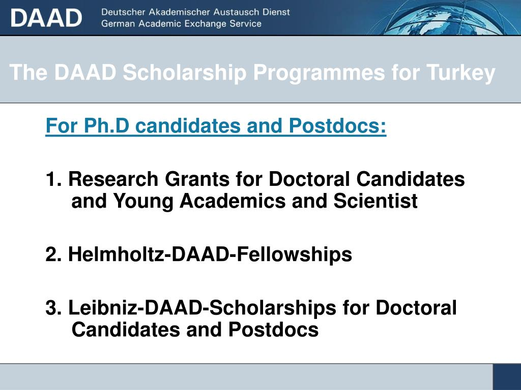 The DAAD Scholarship Programmes for Turkey
