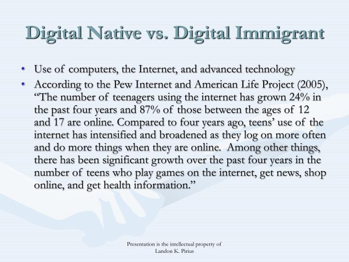 digital natives and digital immigrants and the differences among generation And generated a digital divide among  digital natives generation gaps occur between  digital__from_digital_immigrants_and_digital_natives_to.