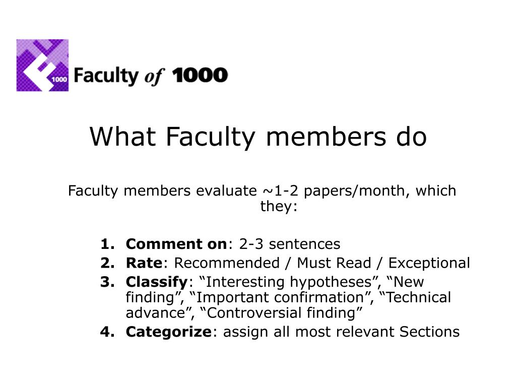 What Faculty members do
