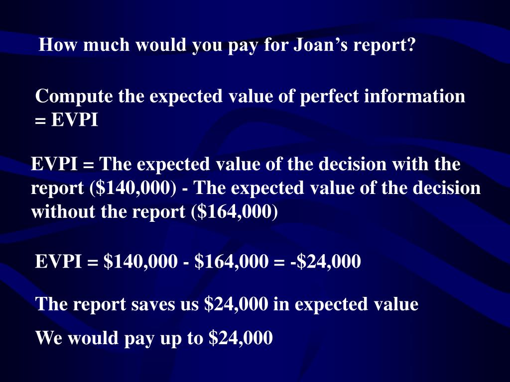 How much would you pay for Joan's report?