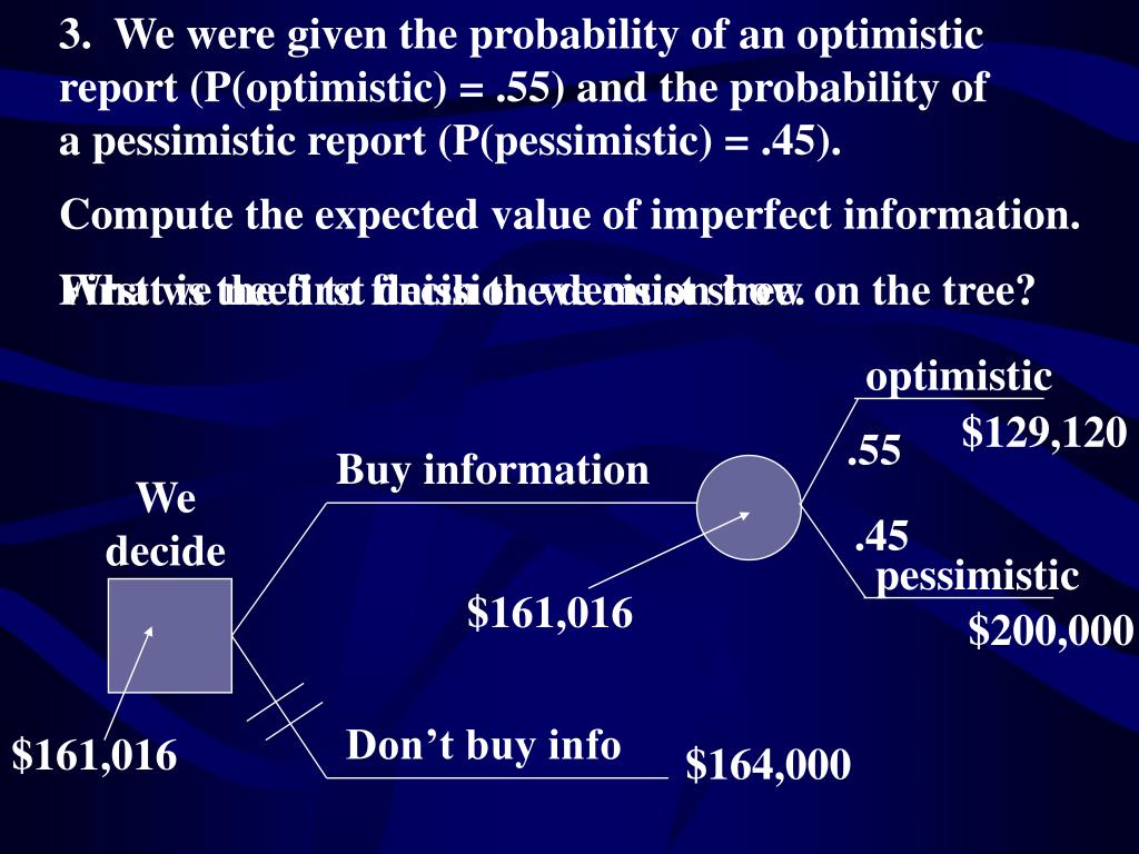 3.  We were given the probability of an optimistic