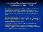 description of bench science activities of physiologists in industry part i
