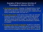 examples of bench science activities of physiologists in industry part iv