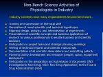 non bench science activities of physiologists in industry