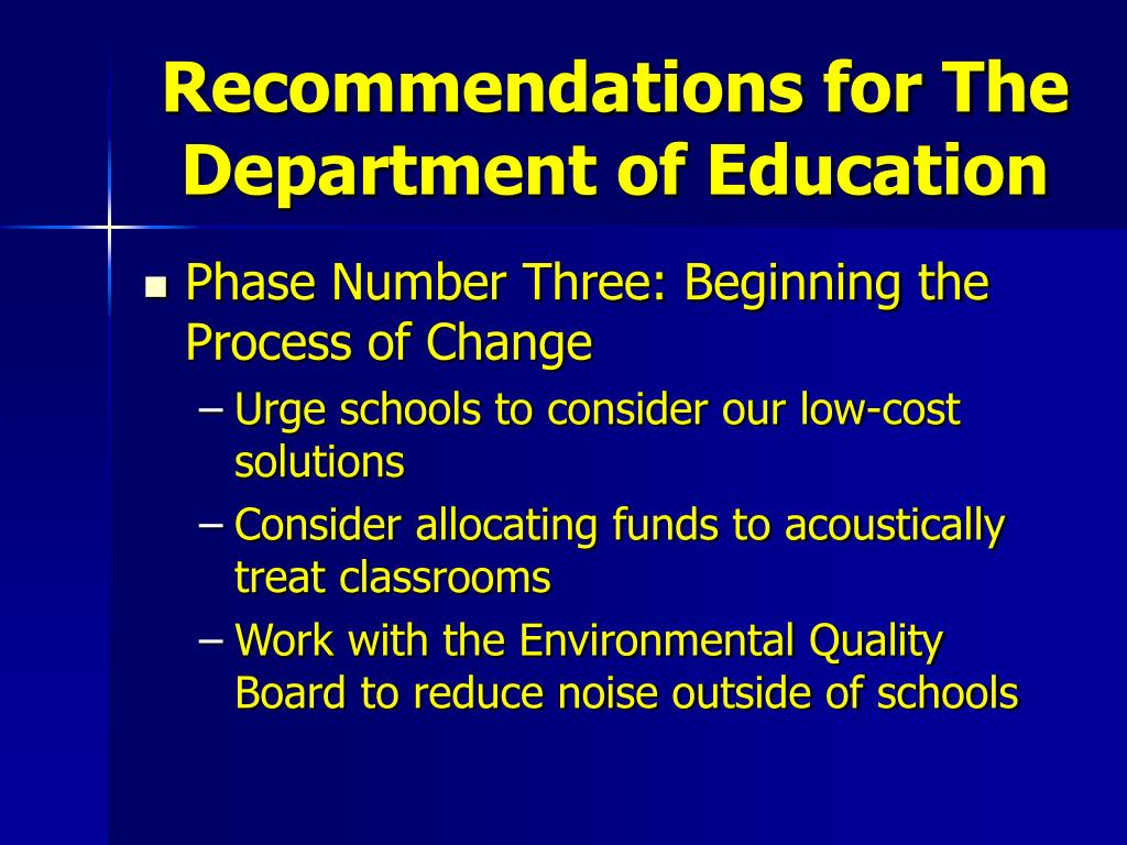 Recommendations for The Department of Education