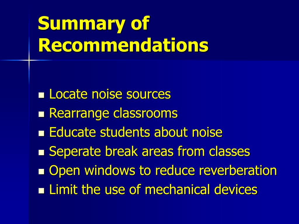 Summary of Recommendations