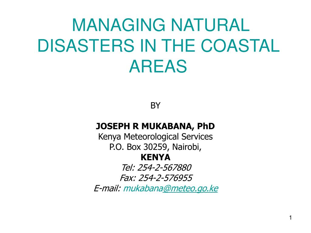 managing natural disasters in the coastal areas l.