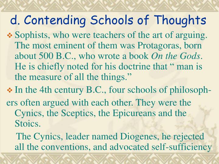 five schools of thought Several schools of thought in psychology were established by the early psychologists according to their respective modes of research and study these include several approaches to this social science the prime focus of this page is the psychology schools of thought.