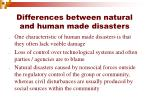 differences between natural and human made disasters