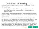 definitions of learning continued