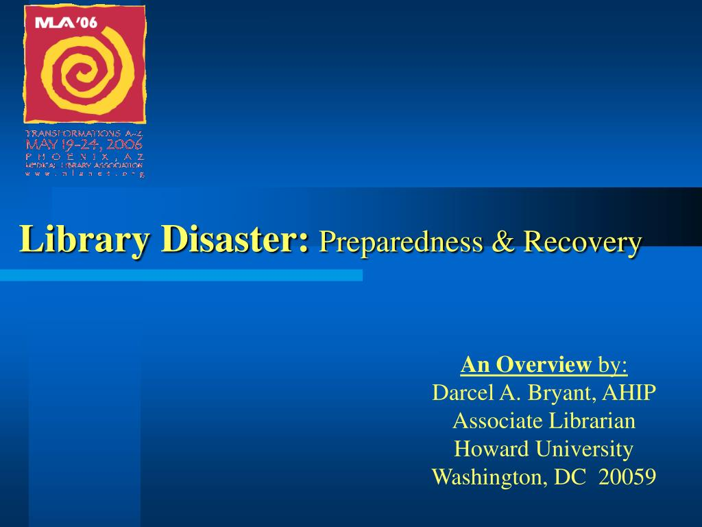 library disaster preparedness recovery l.