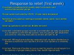 response to relief first week
