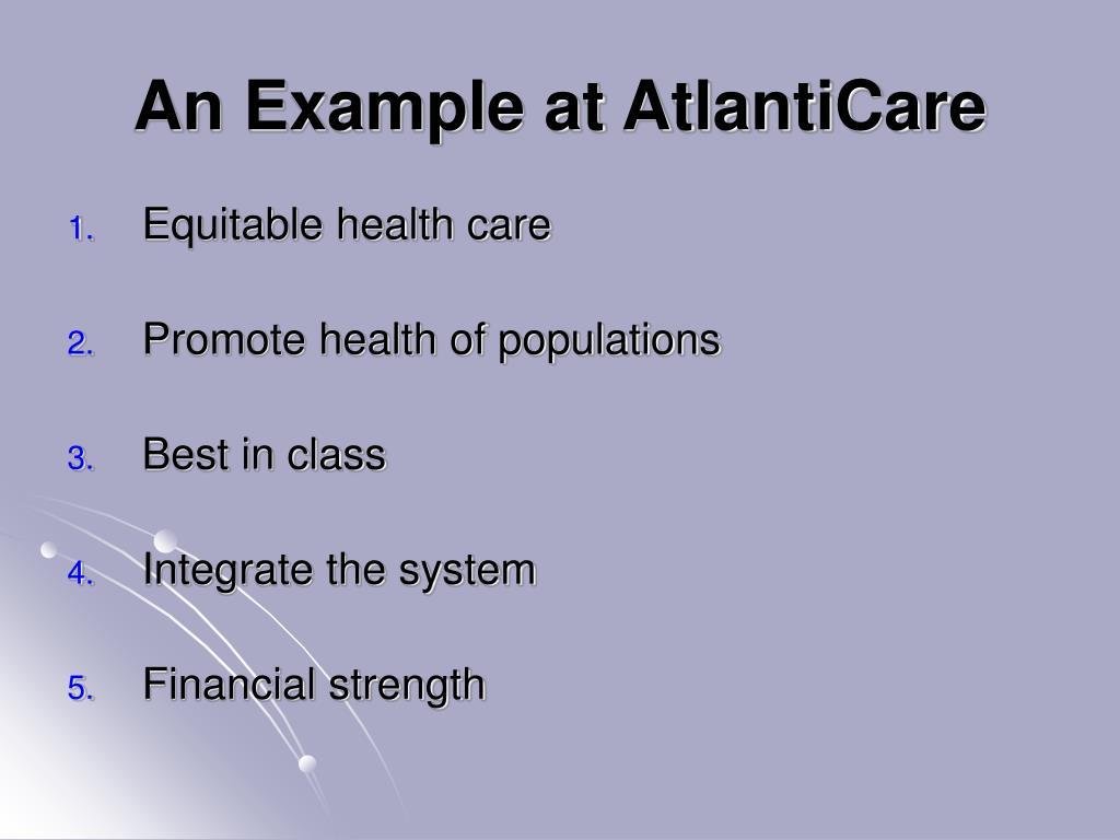An Example at AtlantiCare