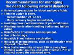 recommendations for managing the dead following natural disasters