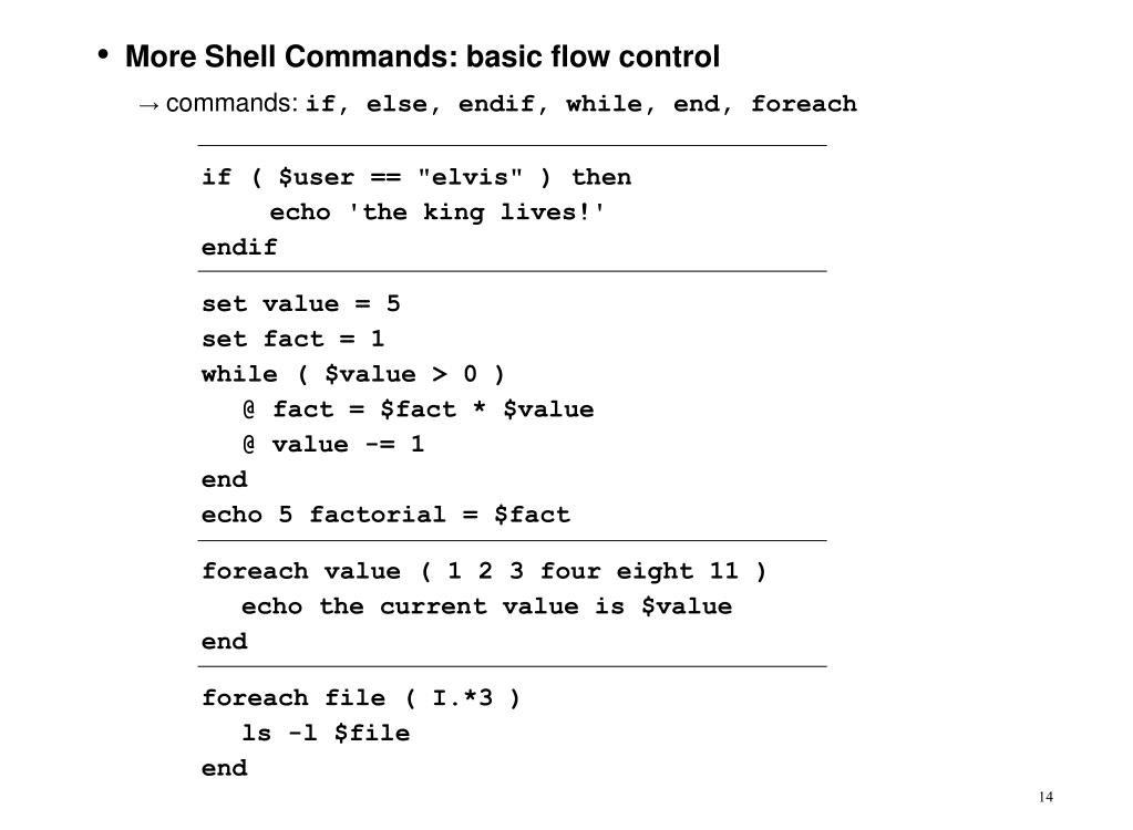 More Shell Commands: basic flow control