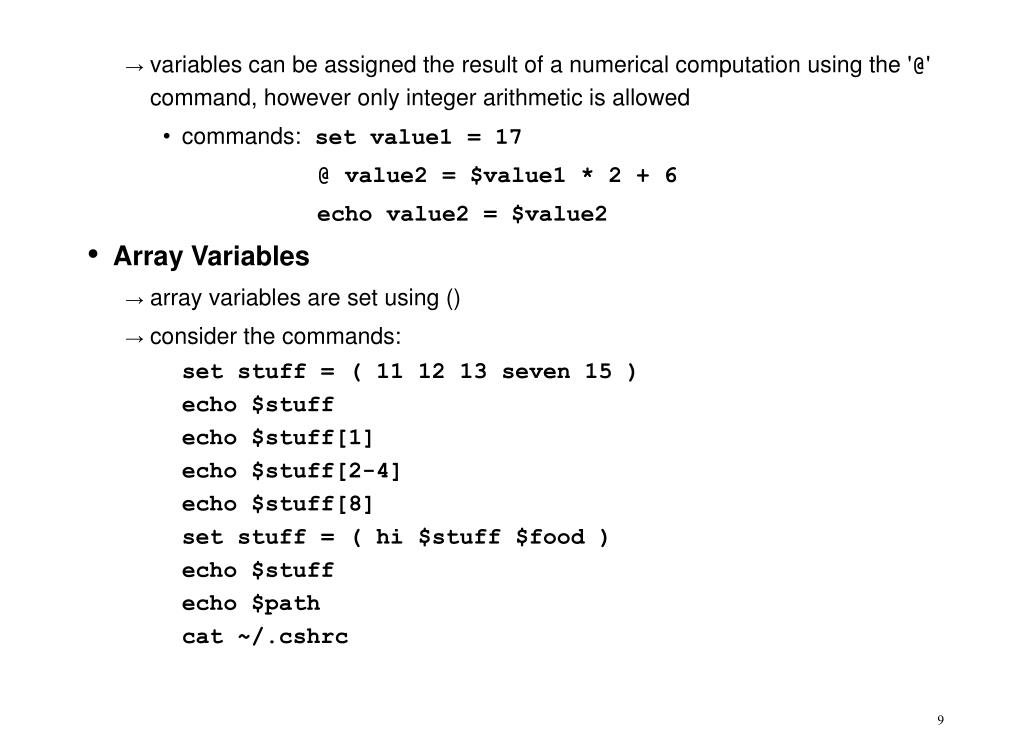 variables can be assigned the result of a numerical computation using the '