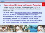 international strategy for disaster reduction