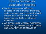 how to develop an adaptation baseline
