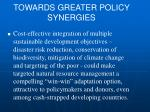 towards greater policy synergies