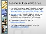 resumes and job search letters