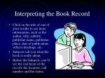 interpreting the book record