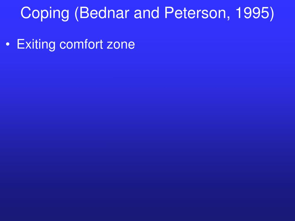 Coping (Bednar and Peterson, 1995)