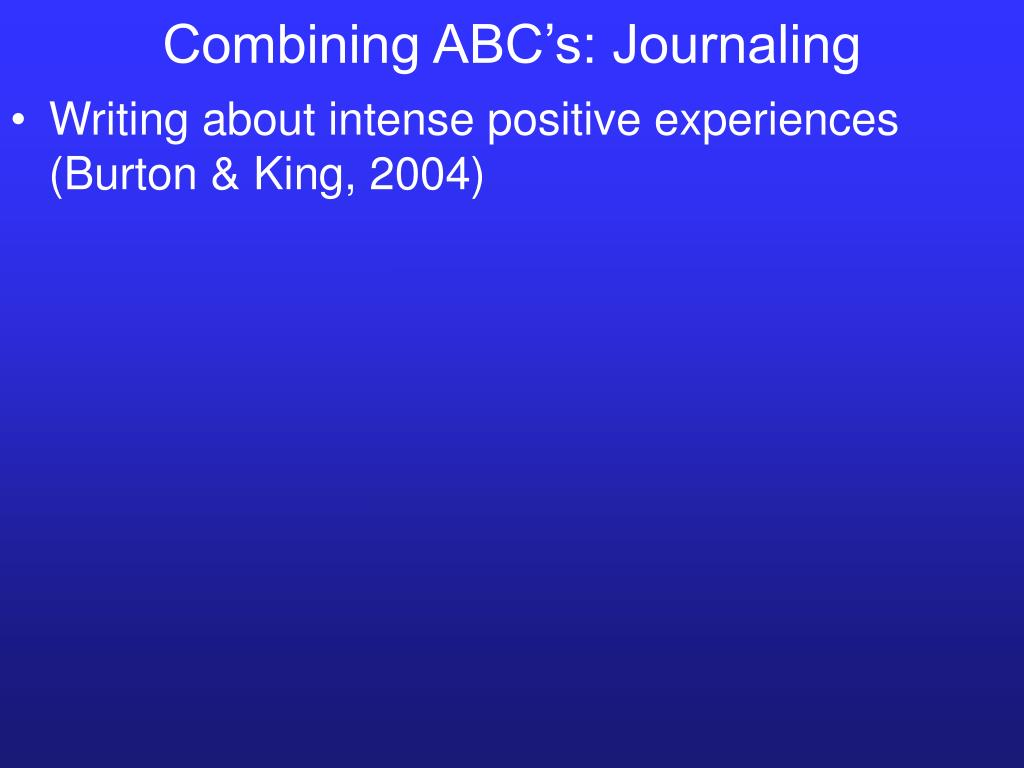 Combining ABC's: Journaling