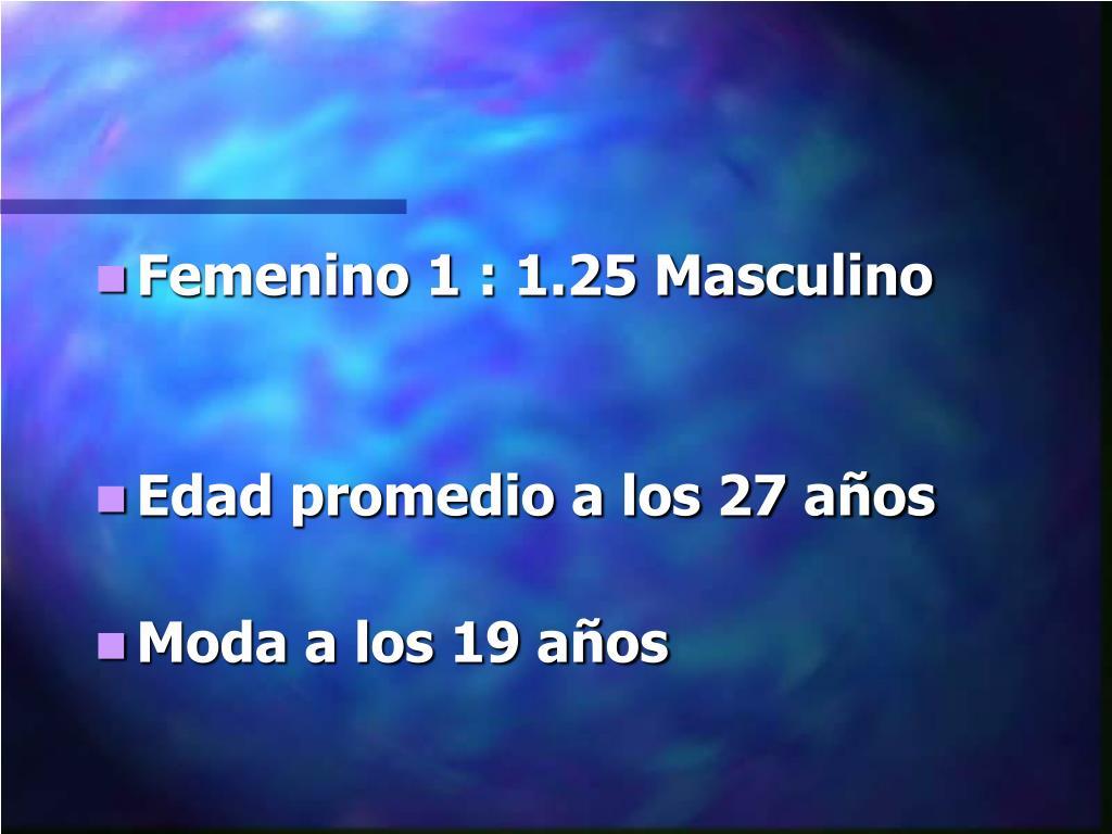 Femenino 1 : 1.25 Masculino