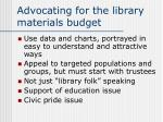 advocating for the library materials budget