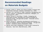 recommended readings on materials budgets