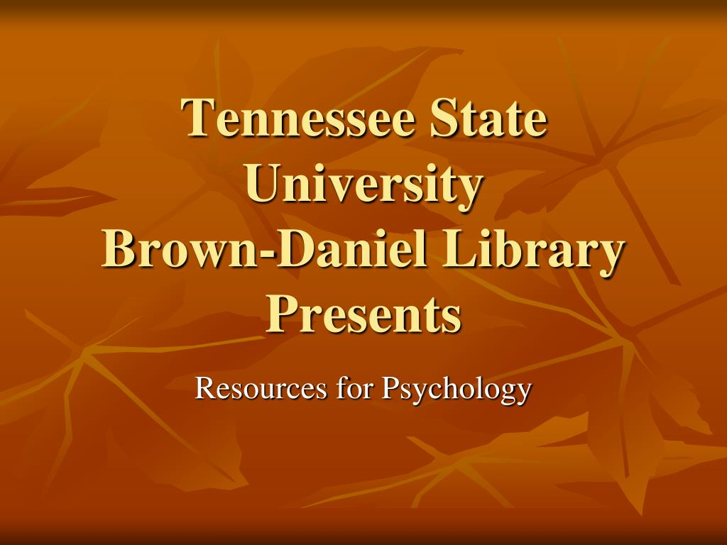 tennessee state university brown daniel library presents l.