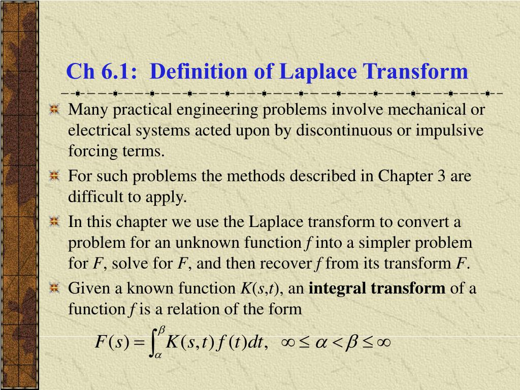 ch 6 1 definition of laplace transform