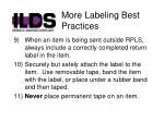 more labeling best practices