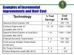 examples of incremental improvements and their cost