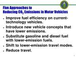 five approaches to reducing co 2 emissions in motor vehicles