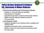 policy actions analyzed to reduce co 2 emissions in motor vehicles
