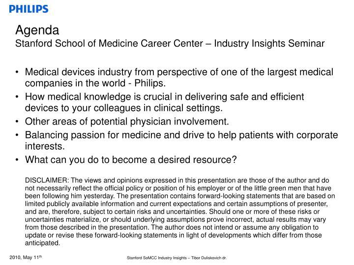 Agenda stanford school of medicine career center industry insights seminar